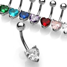 Belly button ring with heart-shaped zircon