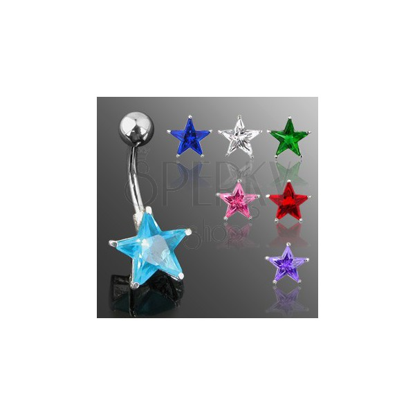 Belly button ring with star-shaped zircon