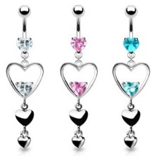 Belly ring with two zircons and dangle hearts