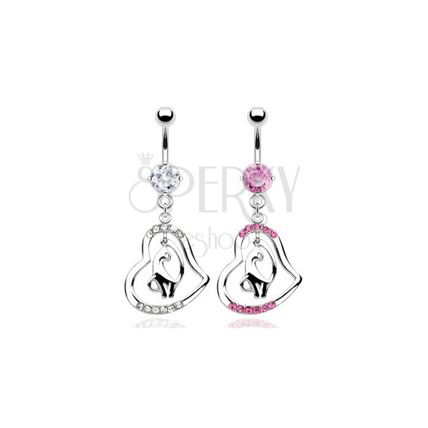 Belly ring with zircons and dangle cat