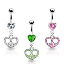 Belly ring - heart with peace sign