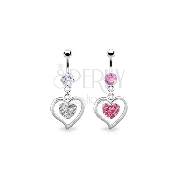 Steel belly ring - smooth steel heart and zirconic heart