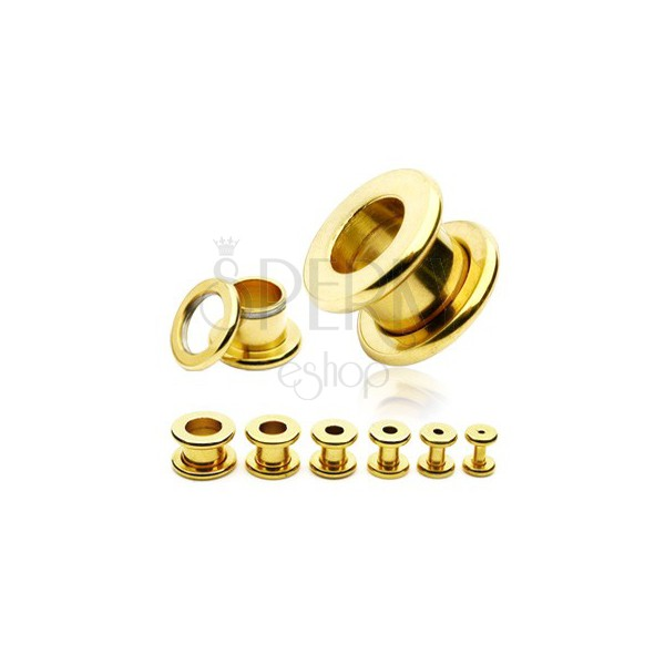 Stainless steel ear tunel - glossy surface of gold colour