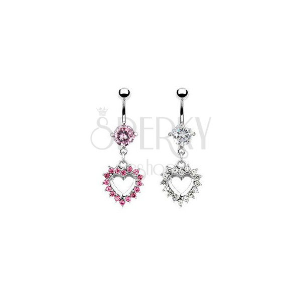 Belly button ring - heart covered with zircons
