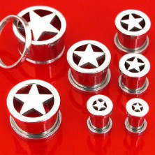 Stainless steel ear tunnel with central star