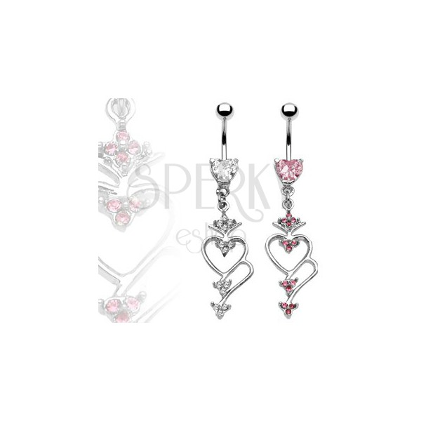 Belly button ring with heart pendant and zircons