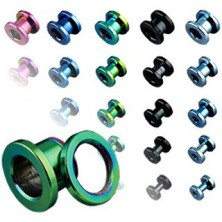 Titanium ear tunnel, anodized, multicolored with thread