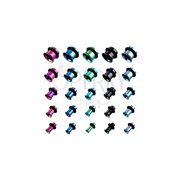 Piercing - titanium flesh tunnel, anodized, various colors with rubber band