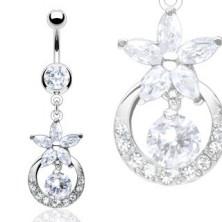 Luxurious zirconic flower belly ring