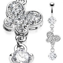 Luxurious belly ring - butterfly with embedded zircons