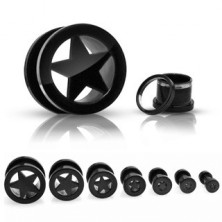 Titanium flesh tunnel, anodized, with star in the middle, black with thread