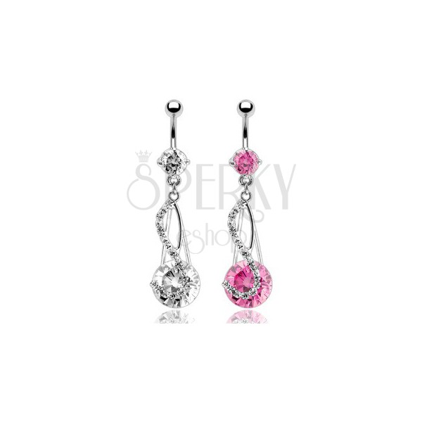 Luxurious belly ring with extremely big zircon in S-setting