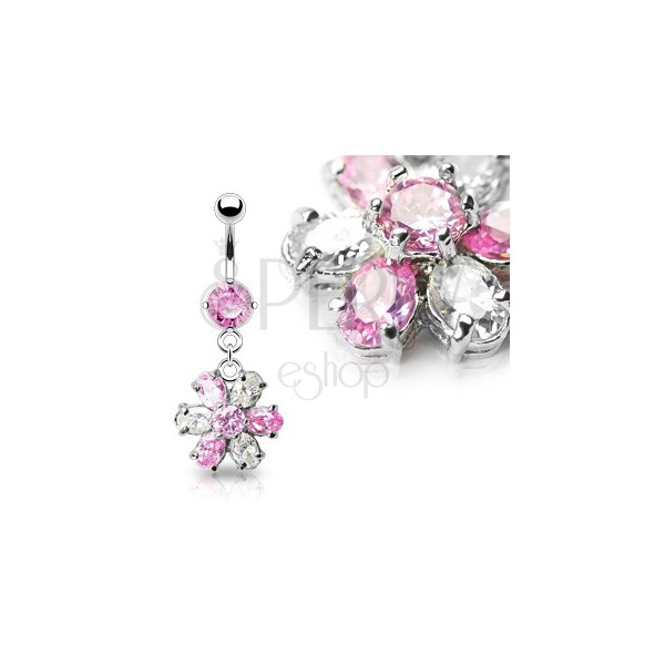 Luxurious flower belly ring - pink and clear zircons