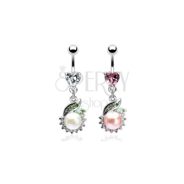 Luxurious belly ring with pearl and green leaf