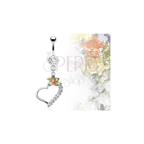 Luxurious heart belly ring with colorful flower