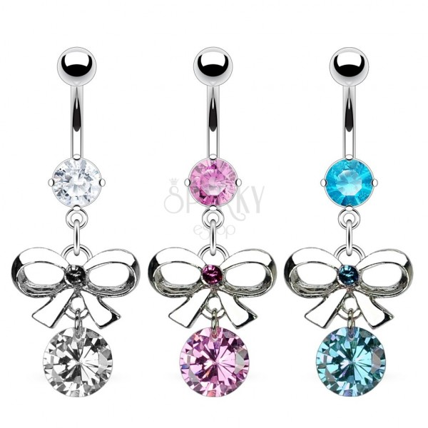 Belly ring with bow and zircon