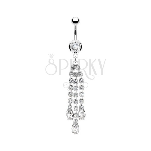 Belly piercing made of steel - hanging chain with clear zircons, round zircon within a ball