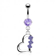 Titanium belly button ring - heart with three flowers