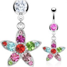 Colorful flower belly ring
