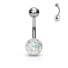 316L steel belly piercing - zircon covered with a transparent glaze, various colours of zircons
