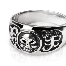 Stainless steel ring - skull and ornaments