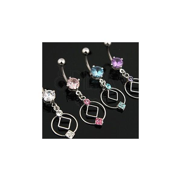 Titanium belly button ring, cube, zircon
