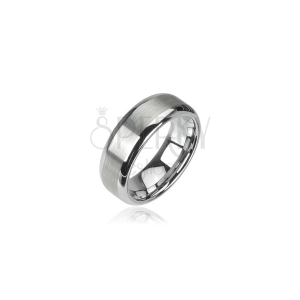 Tungsten ring - polished central part and shiny edges, 8 mm