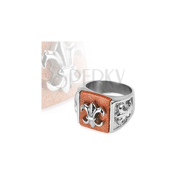 Steel ring with Fleur de Lis symbol on glittering background