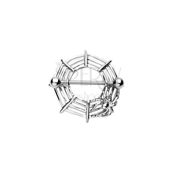 Spider net nipple piercing with spider - 2 pieces