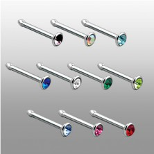 Bone nose stud with zircon