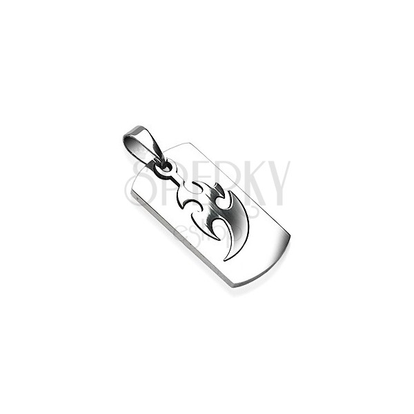 Stainless steel tag with tribal symbol