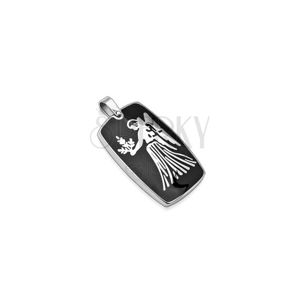 Stainless steel pendant with black colour - Zodiac sign Virgo