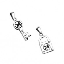 Stainless steel pendants - key and padlock with four-leaf clover
