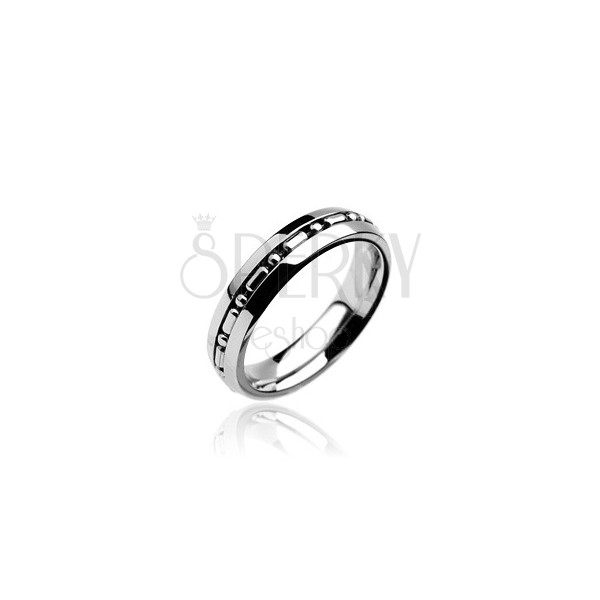 Stainless steel ring with military ball chain