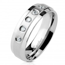 Stainless steel ring with 5 clear zircons on matt line with shiny edges