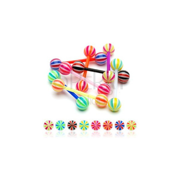 Flexible UV candy ball tongue piercing