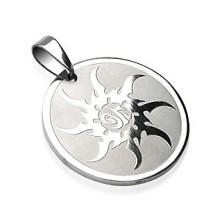 Stainless steel circle pendant - sun design