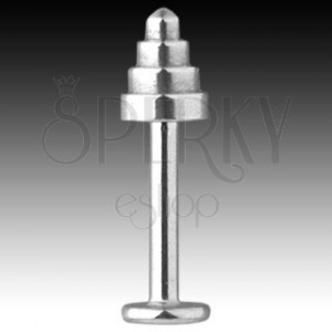 316L steel labret - quadricone with bent spike, width 1,6 mm