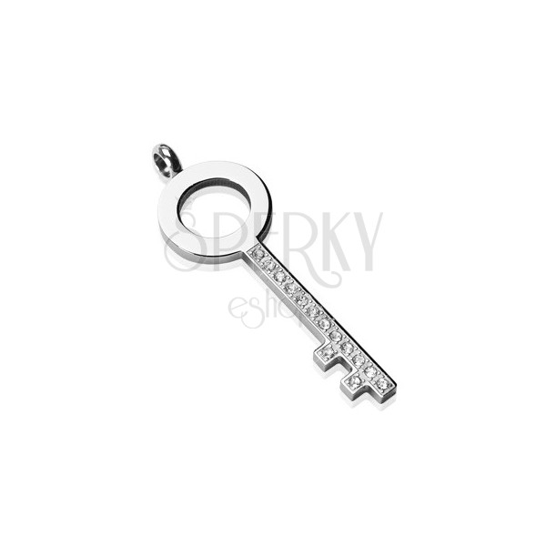 Steel pendant - simple key with zircons