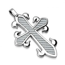 Stainless steel pendant - cross with fiber pattern