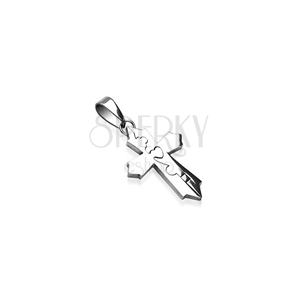 Surgical steel pendant - cross divided into two parts