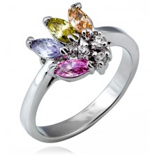 Shiny ring made of metal - fan of colourful grain-shaped zircons