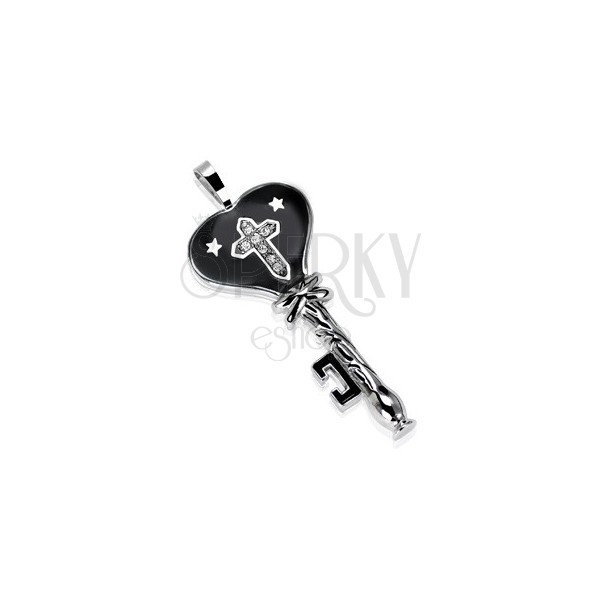 Black stainless steel key with stars