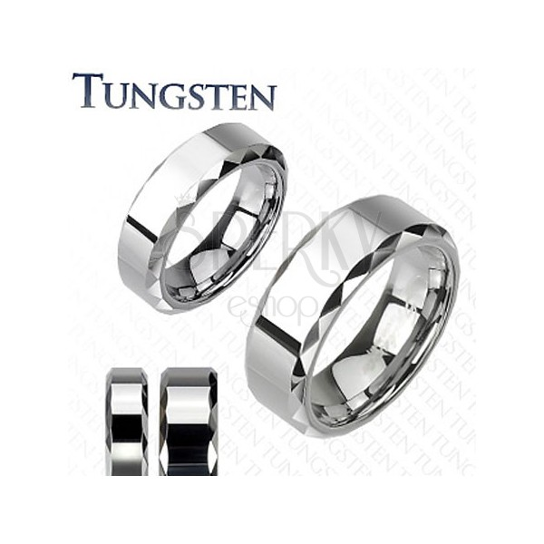 Tungsten ring, silver hue, bevelled cut sides, 8 mm