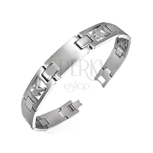 Surgical steel bracelet with flying eagle