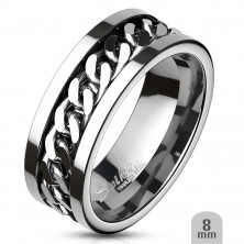Surgical steel ring with chain in the middle