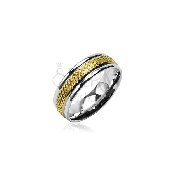 Surgical steel band with gold diamond pattern stripe