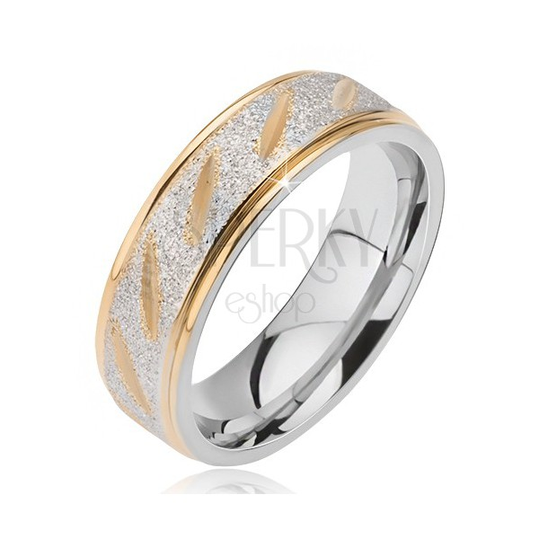 Steel wedding ring - matt central part with golden cuts and edges