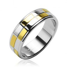 Steel band with gold and silver shiny rectangles