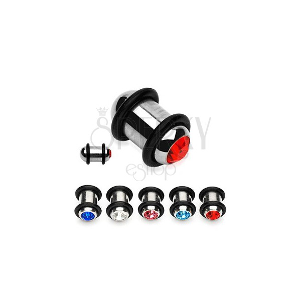 Steel ear plug with colourful zircon and two rubber O-rings